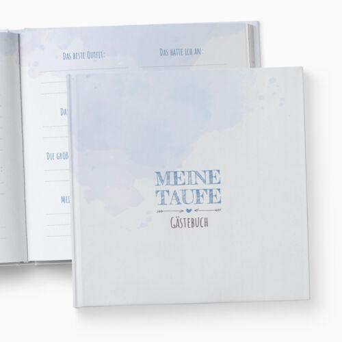 Gästebuch TaufeFragen zum AusfüllenAquarellblau