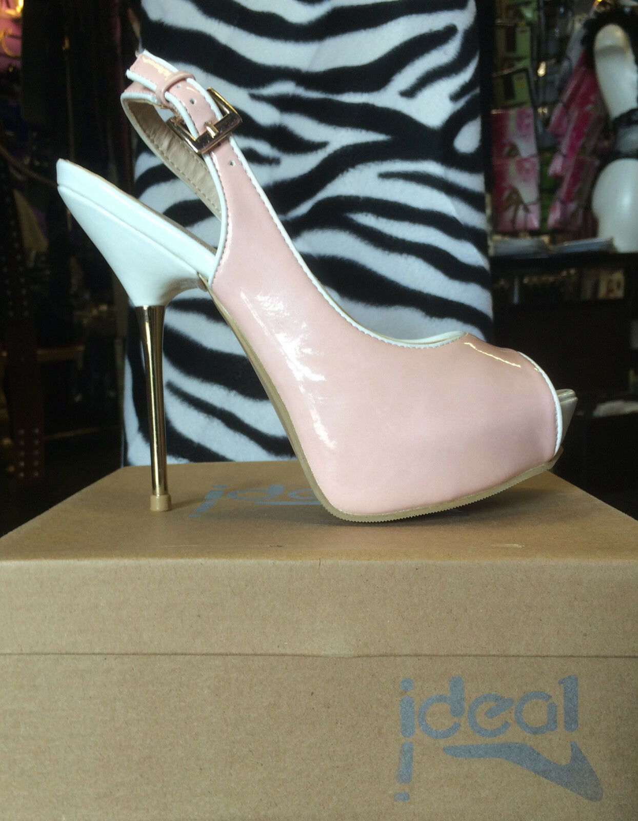 *MADE IN CHELSEA* Designer Baby Pink Peep-Toe Slingback Stiletto Strappy Heels