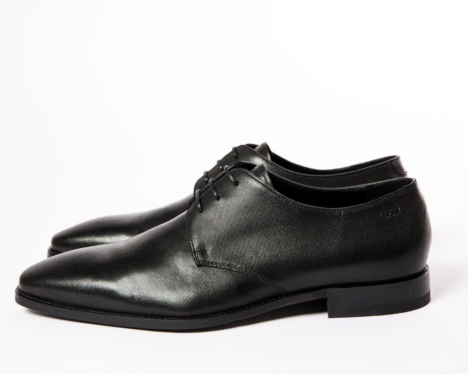 HUGO BOSS LACK LEDER BLACK SCHNÜRER FEROKE DERB 44 BLACK LEDER SCHUHE DRESS Schuhe 10 11 dd8c51