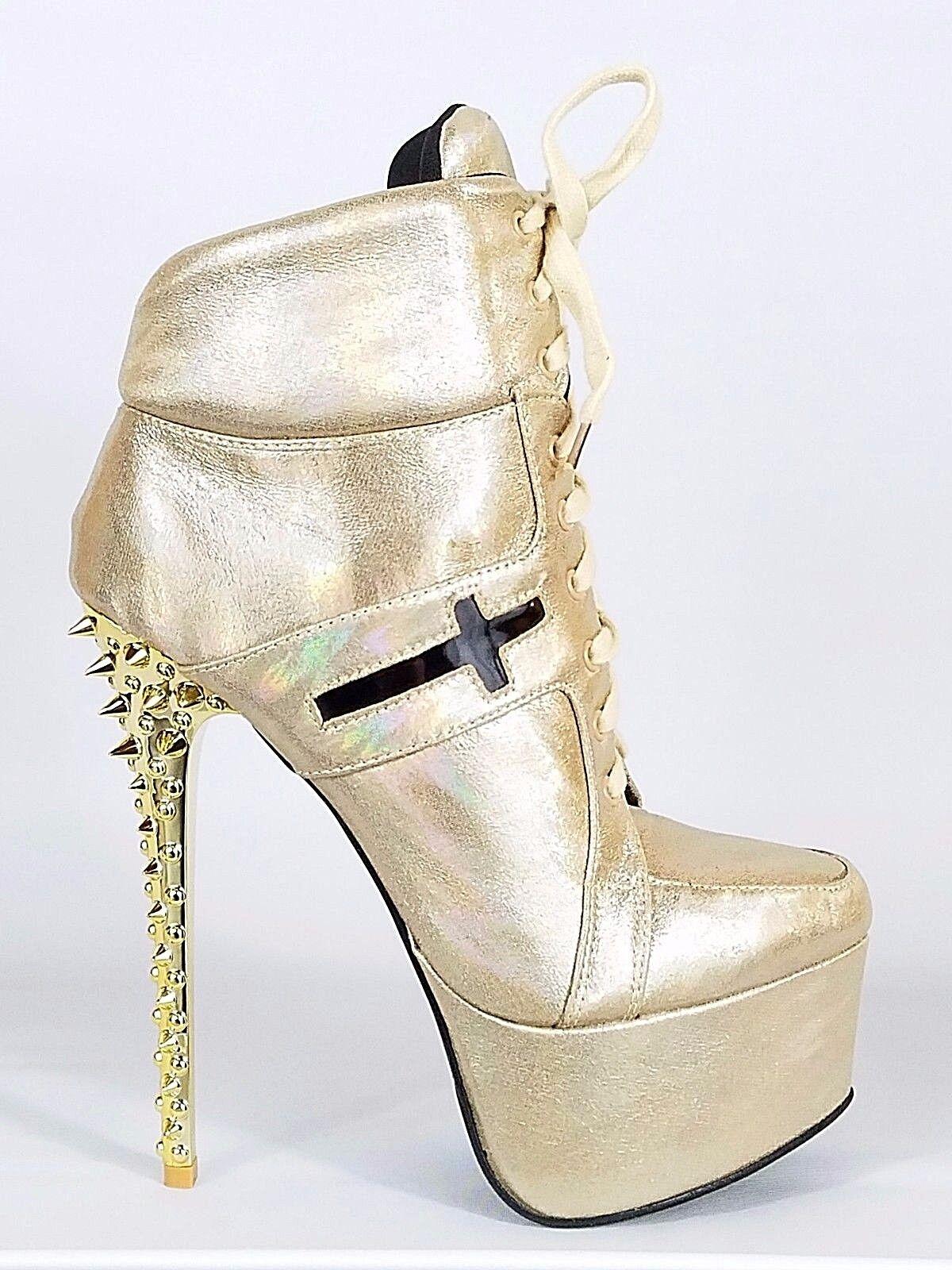 Mona Mia Anapaula gold Hologram Spiked Heel Platform Ankle Sneaker Boot 7-11