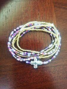 Womens-handmade-unique-cross-plum-amp-gold-wrap-stretch-bracelet