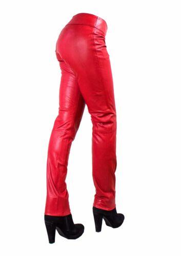 """/""""Kathrin/"""" Damen Lederhose aus echtem Lamm Nappa Leder in Rot"""