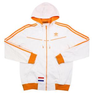 Details zu USED adidas NEDERLAND Holland Track Jersey hooded jacket coat white orange M