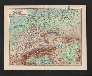 Carte Map 1931: Moyen-europe. Rivière-montagne. Waldverteilung. Sol.-waldverteilung. Bodengüte. Fr-fr Afficher Le Titre D'origine