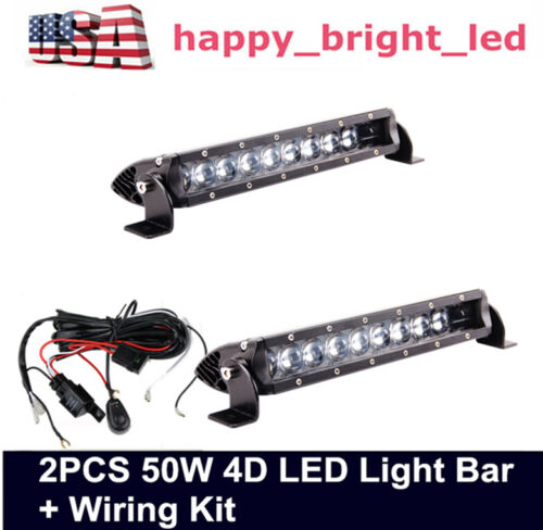 "Wiring kit 10/""in 50W 4D Slim Single Row LED Light Bar Spot for Jeep 11/"" 60W 72W"