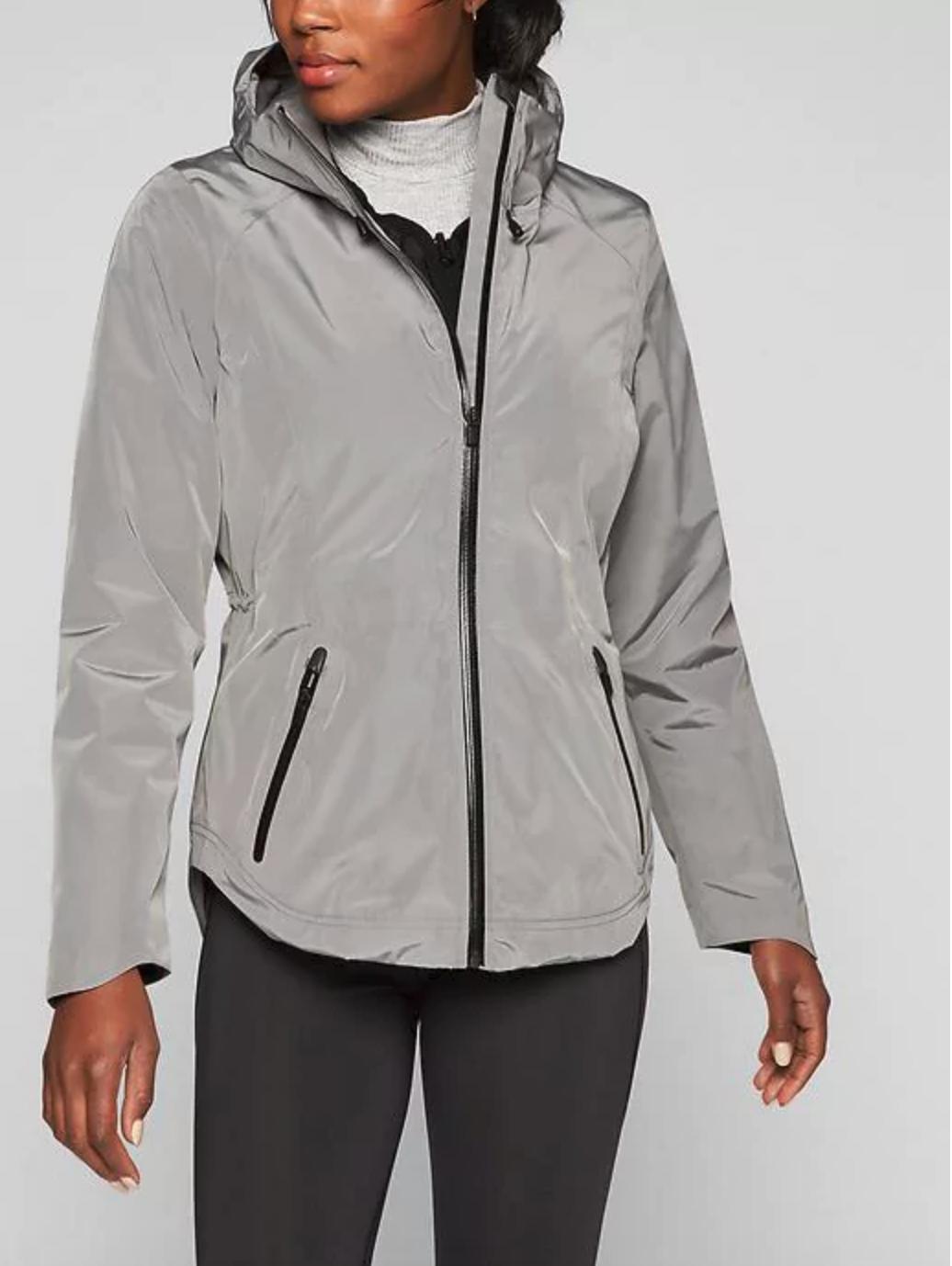 Athleta Triple Cascade 3 in 1 Coat Jacket,Light Asphalt/ Black SIZE S #842298 N