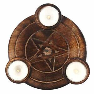 Pentagram-Wooden-Tea-Light-Holder-Gothic-Pagan-Wicca-Mystic-Home-Decor