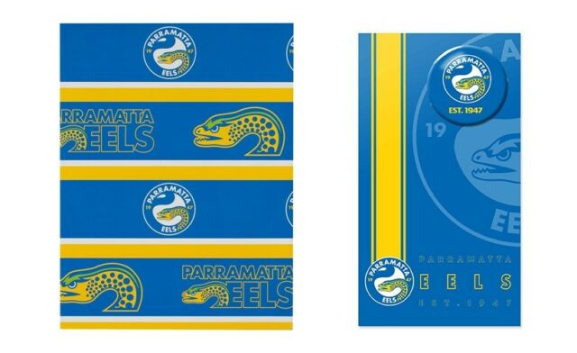 NRL Gift Card With Badge + Wrapping Paper - Parramatta Eels - Gift Wrap