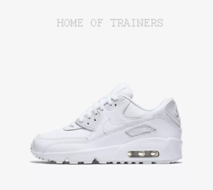 Details zu Nike Air Max 90 Leather White Kids Boys Girl Trainers All Sizes