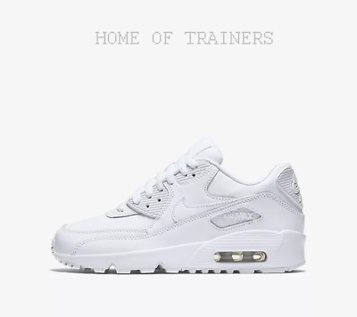 magasin d'usine fbe36 08a7e Nike Air Max 90 Leather White Kids Boys Girl Trainers All Sizes | eBay