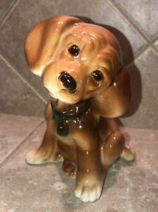 Vintage Royal Copley Puppy Dog Cocker Spaniel Figurine Pottery 1950s