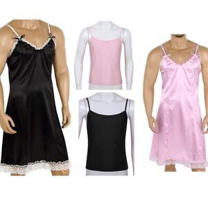 Men-039-s-Sissy-Sleeveless-T-Shirt-Vest-Corp-Tops-Satin-Nightwear-Dress-Lingerie