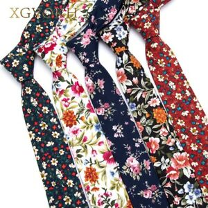 100-Cotton-Tie-Print-Necktie-Men-Fashion-Classical-6cm-Slim-Skinny-Ties-Flowers