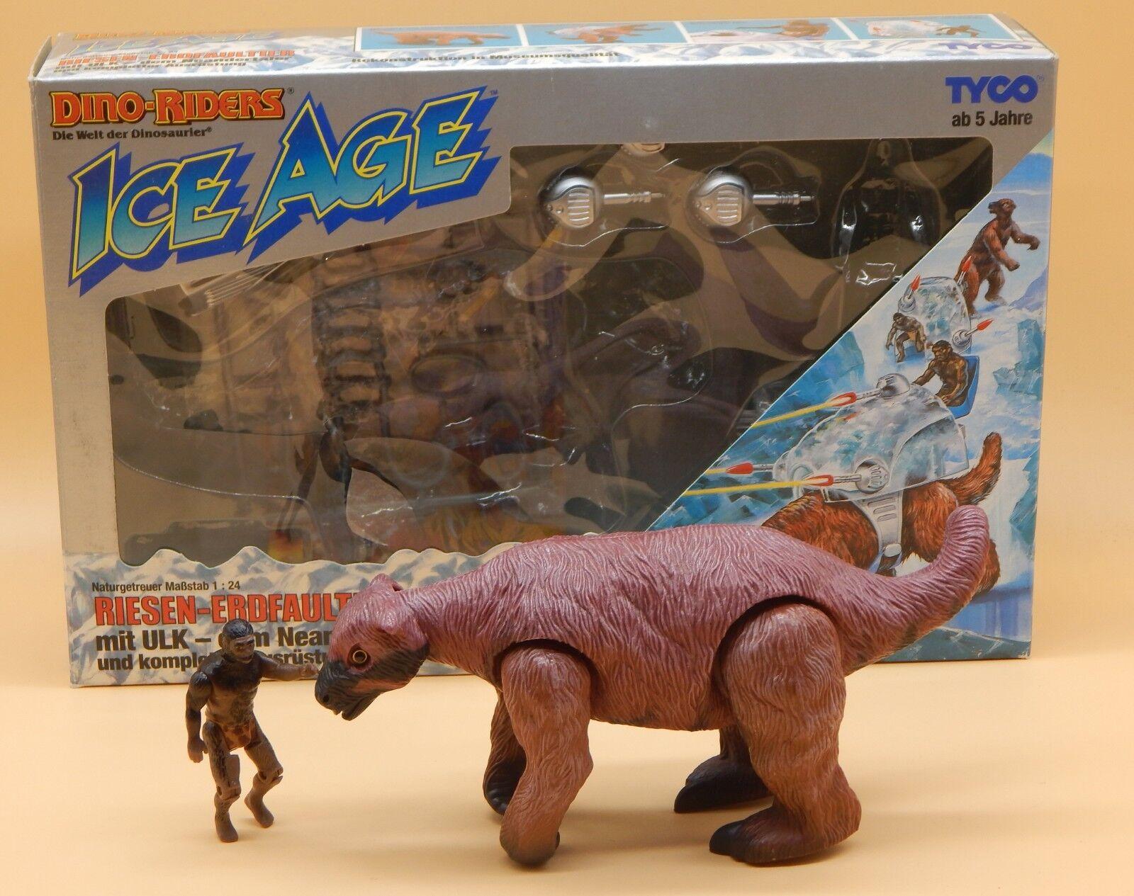 1989 Vintage Tyco Dino Riders Ice Age Géant paresseux & en FIGURE + boîte d'origine