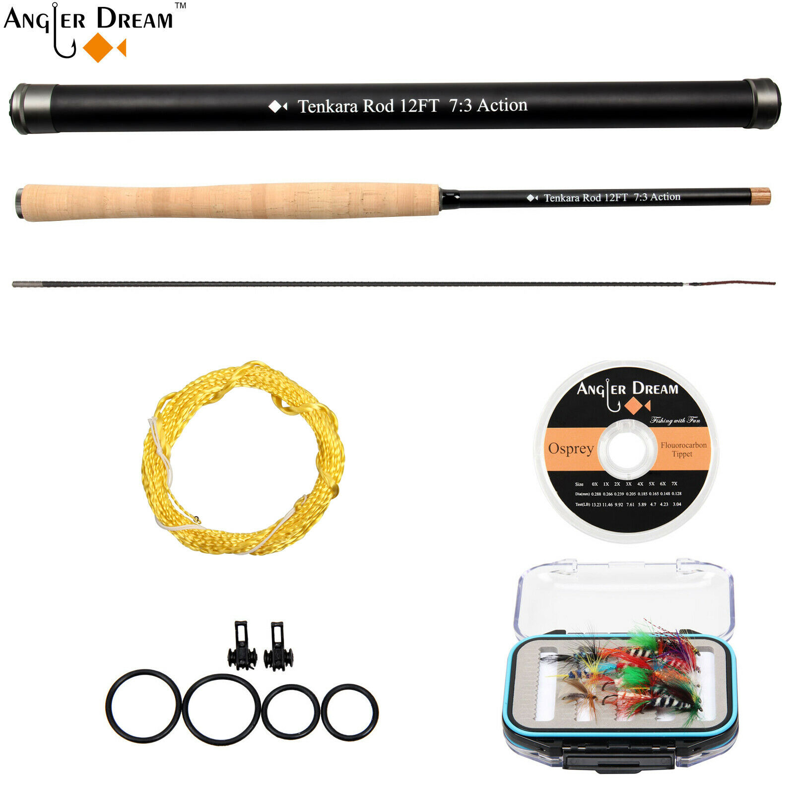 12FT Tenkara Fly Fishing Rod Telescopic Fishing Pole Carbon Fiber Rod Fly Kit