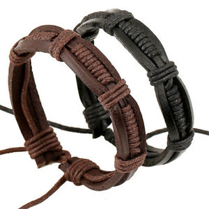 19a50e597 Image is loading Adjustable-Men-039-s-Leather-Wrap-Braided-Wristband-