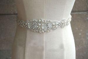 Vintage crystal bridal sash rhinestone pearl beaded for Belts for wedding dresses ebay