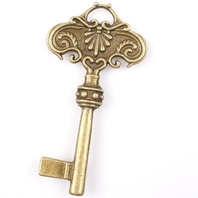 3pcs 145217 New Charms Carved Flowers Key Vintage Bronze Alloy Pendants Fit DIY