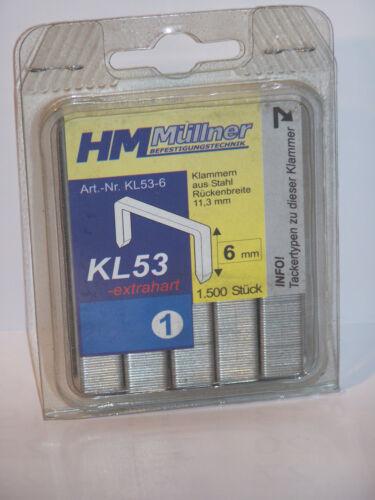 Agrafes type 53-6 mm 1500 Pièce Dos 11,3 fil 0,70 mm
