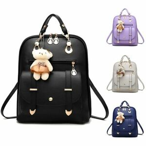 Women-Leather-Trendy-Satchel-Rucksack-Girls-Backpack-Shoulder-School-Travel-Bag