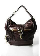 CHLOE Brown Leather Gold Tone Single Strap Horse Charm Flap Hobo Handbag