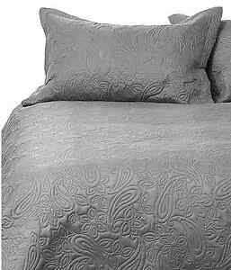 Image Is Loading Bambury Paisley Charcoal Embossed Single Double Bed  Coverlet