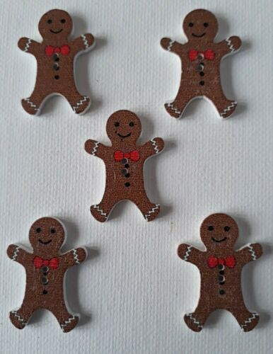 5 CUTE GINGERBREAD MEN SHAPED  2 HOLED WOODEN BUTTONS 3Omm x 20mm ALL CRAFTS