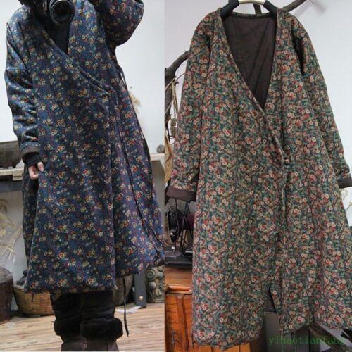chinois loisirs vintage pour en d'hiver en femmes matelassée coton Longue lin veste xHqSnC