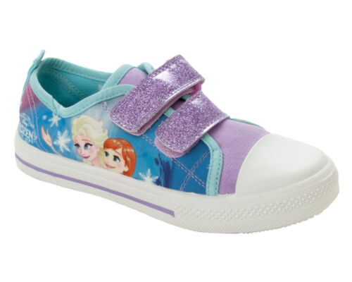 GIRLS FROZEN ANNA ELSA PURPLE AQUA CANVAS PUMPS TRAINERS SHOES INFANTS UK SIZE 4
