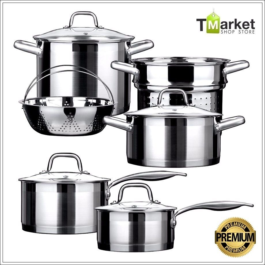 10-piece Premuim Stainless Steel Cookware Set Aluminum 18 10 Commercial Cooking