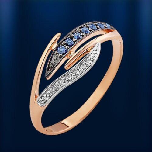 Russische Rose  Gold 585 Goldring mit Brillanten /& Saphir Niedlich
