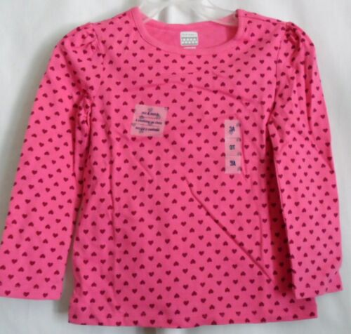 GIRLS 3T PINK  FULL OF LITTLE DARK PINK HEARTS L//S SHIRT NWT ~ OLD NAVY