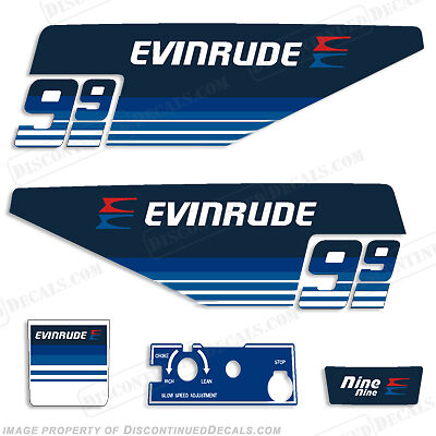 Evinrude 1979 2hp Outboard Decal Kit Discontinued Decal Reproductions in Stock