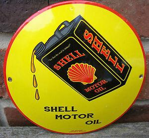 SHELL ENAMEL SIGN round oil can garage petrol oil vitreous porcelain rust VAC196