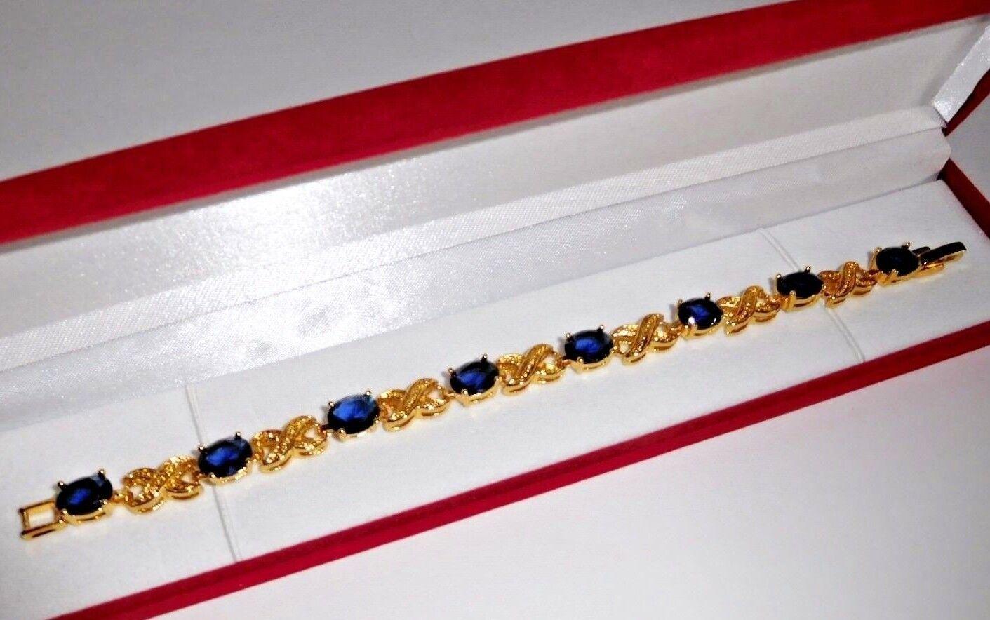 71 Ct.t.w. SPARKLING XO blueE SAPPHIRE OVAL CUT TENNIS BRACELET  7