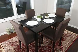 Stock photo & 5pc Espresso Dining Room Kitchen Set Table 4 Brown Leather Parson ...