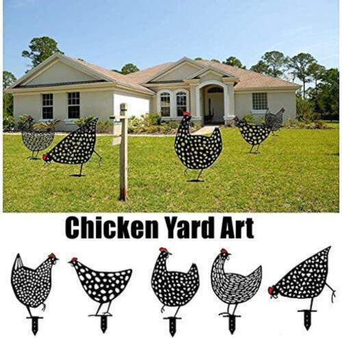 Chicken Yard Art Garden Metal Statue Decor 2021