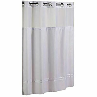 Hookless Shower Curtain Mystery WHITE 71x77 Sheer Voile Window allows in light