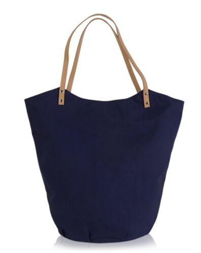 NEW  NAVY BLUE CANVAS BUCKET  Tote Bag SUMMER LIGHTWEIGHT