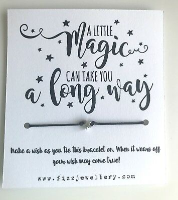 "/""A Little Magic Can Take you Along Way/"" Star Message Tie on Wish Bracelet Gift"