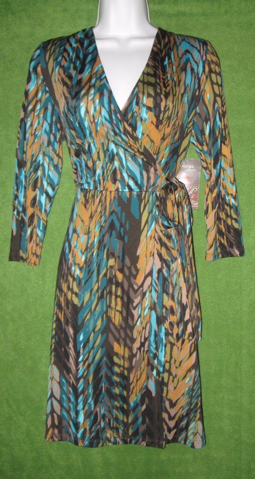 Beige by eci braun Teal Blau Gold Jersey Faux-Wrap Social Dress 14W  PLUS