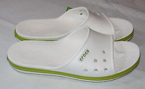 b68e0df38df8 Image is loading Crocs-Crocband-II-Slide-White-Volt-Green-sandals-