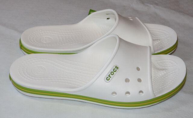 8e246f206 Crocs Crocband II Slide White Volt Green sandals unisex M9 W11 relaxed  204108