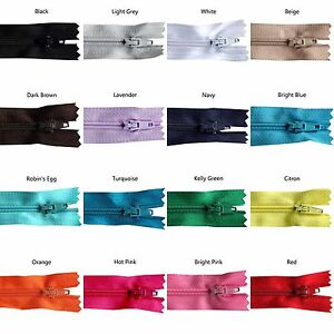 10 inch Nylon Zippers - 100 Pieces - You Pick Colors