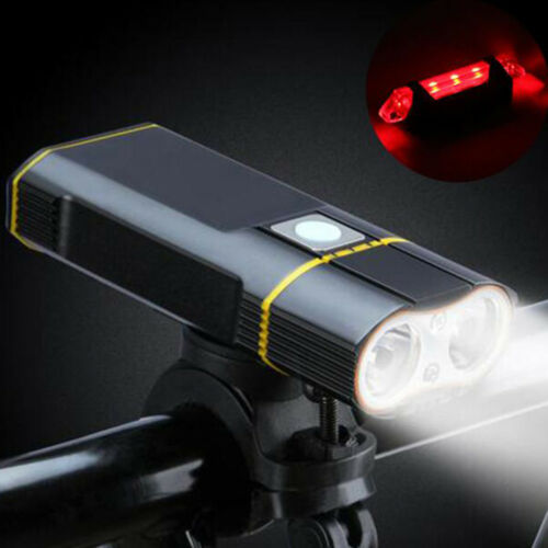 2LEDs 2400LM Bicycle Headlight & USB Rechargeable 5LEDs Bicycle Tail light