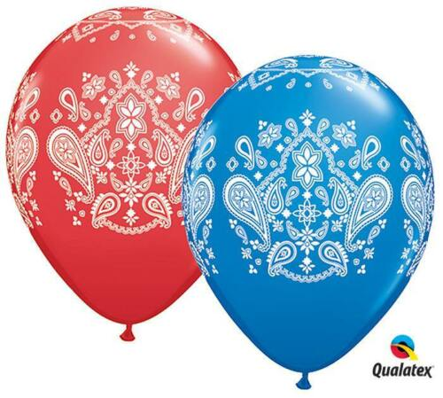 "10 pc 11/"" Red /& Blue Western Bandana Latex Balloons Party FREE SHIPPING"