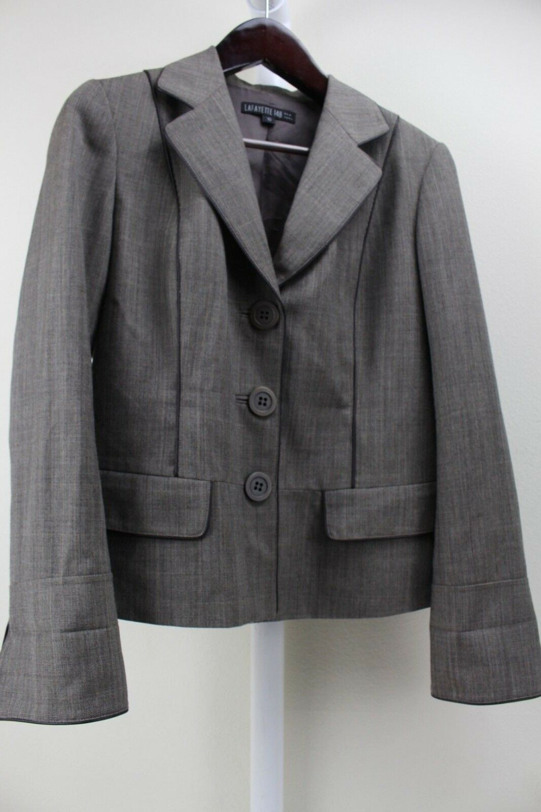 Lafayette 148 New York 100% Wool Multi- colord Brown 3 Button Lined Blazer 10