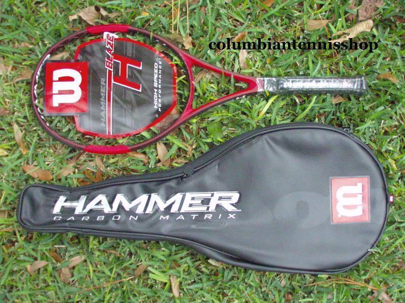 Nouveau Wilson Hyper Hammer H Blaze hblaze + Case + Enfilées Adulte Raquette 4 1 2 (4)