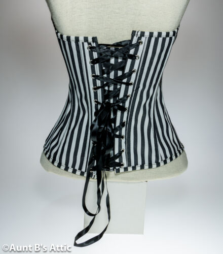 Corset Black /& White Over Bust Victorian Steampunk Laced Back Corset