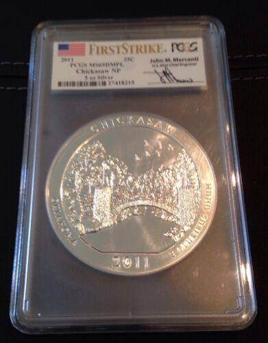 2011 Chickasaw 5oz Silver America the Beautiful ATB PCGS MS 69 DMPL FS Mercanti